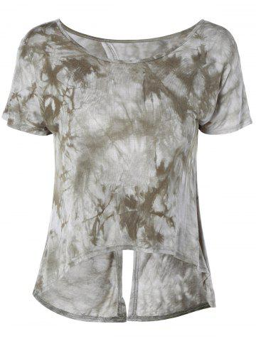 Online Fashionable ScoopNeck Tie-Dyed Short Sleeves Top For Women