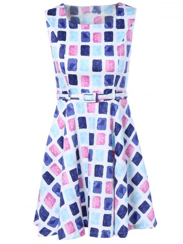 Store Colorful Diamonds Print Sleeveless Dress