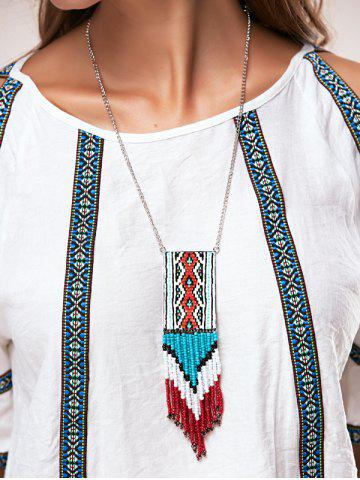 Buy A Suit of Multilayer Knitted Cloth Bead Tassel Pendant Necklaces