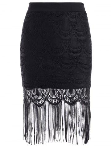 Outfit Trendy Elastic Waist Eyelash Lace Fringed Skinny Women's Skirt