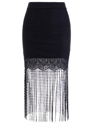 Online Chic Elastic Waist Lace Spliced Fringed Skinny Women's Skirt