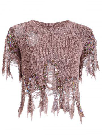 Hot Women's Sequined Hole Design Asymmetric Pullover Sweater