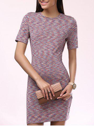 Affordable Fashionable Short Sleeves Scoop Neck Slim Dress For Women COLORMIX XL
