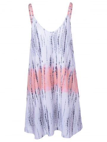 Chic Fashionable Tie-Dye Weave Spaghetti Strap Backless Dress For Women COLORMIX XL