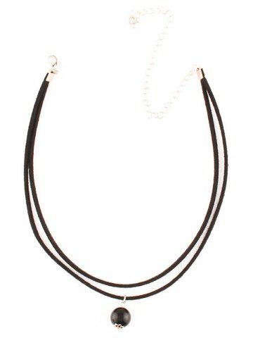 New Faux Pearl Layered Necklace - BLACK  Mobile