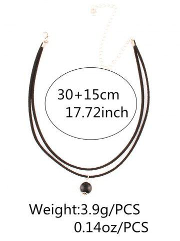 Hot Faux Pearl Layered Necklace - BLACK  Mobile