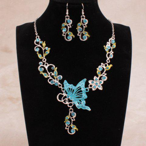 Affordable Fake Enamel Butterfly Vine Jewelry Set LAKE BLUE