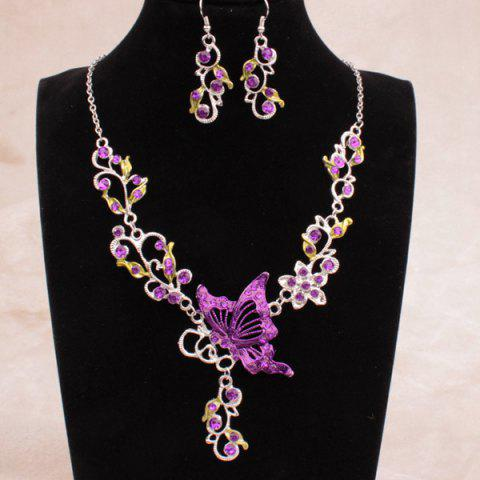 Fancy Fake Enamel Butterfly Vine Jewelry Set PURPLE
