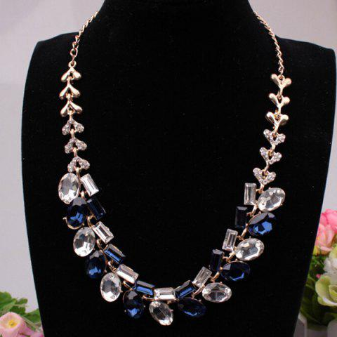 Faux Crystal Geometric Rhinestone Necklace - Deep Blue - 7