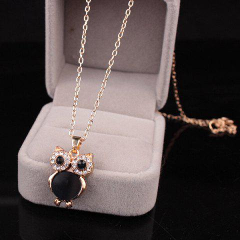 Latest Chic Style Enamel Owl Rhinestone Pendant Necklace For Women BLACK