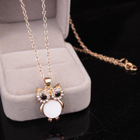 Outfits Chic Style Enamel Owl Rhinestone Pendant Necklace For Women - WHITE  Mobile