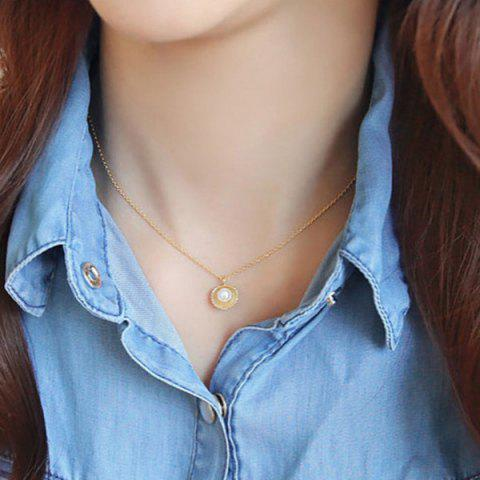 New Fake Pearl Shell Pendant Necklace GOLDEN