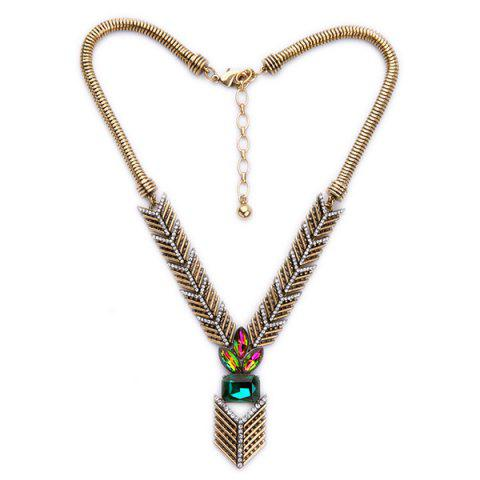 Chic Faux Crystal Arrow Necklace