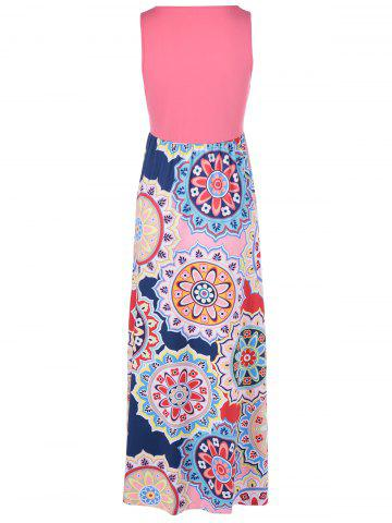 Outfit Bohemian U-Neck Splice Printing Dress For Woman - S LIGHT PINK Mobile