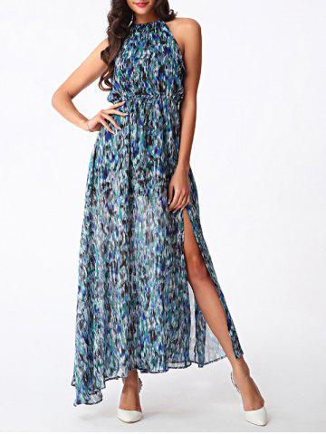 Hot Bohemian Women's High Slit Printed Chiffon Dress