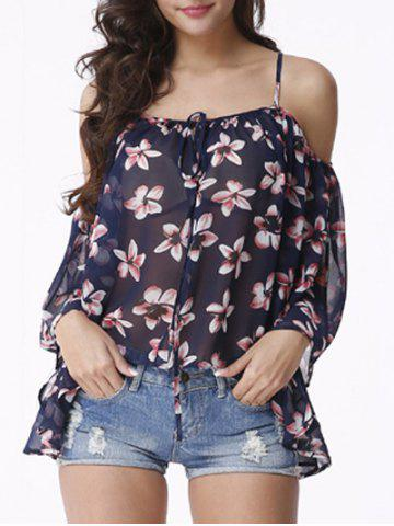 Buy Attractive Women's Cold Shoulder Floral Print Chiffon Blouse