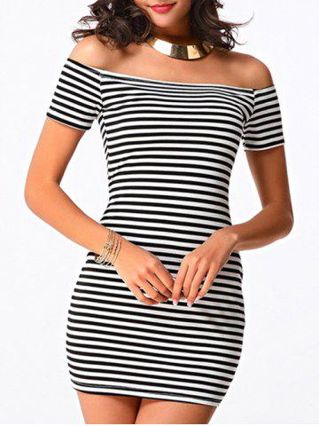 Chic Trendy Women's Off The Shoulder Striped Short Sleeve Dress