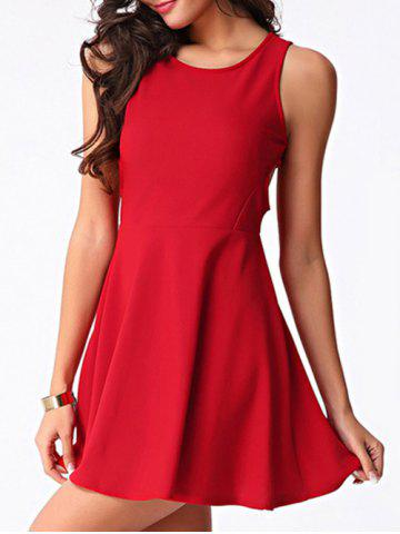 Store Trendy Women's Jewel Neck Cut Out Skater Dress