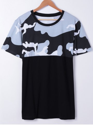 Fashionable Short Sleeves Round Neck Splice Camo Printing T-Shirt For Men - Black - S