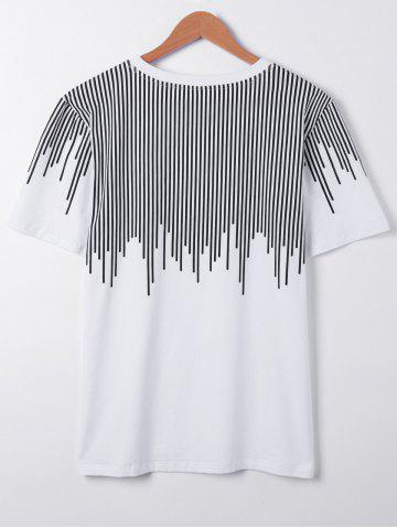 Store Casual Short Sleeves Round Collar Asymmetric Stripe Printing T-Shirt For Men