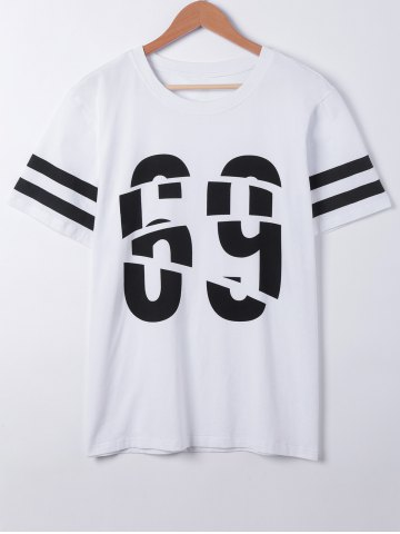 Sale Fashionable Short Sleeves Number Print T-Shirt WHITE L
