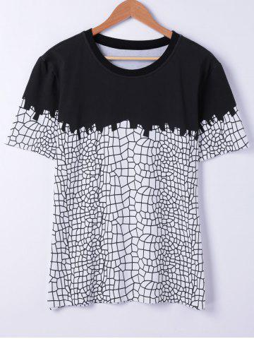 Large BLACK Short Sleeves Round Neck Net Structure Printing T Shirt For Men
