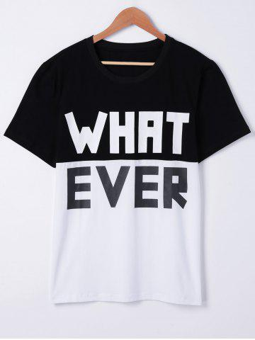 Affordable Fashionable Short Sleeves Round Neck Color Block Loose Character Printing T-Shirt For Men