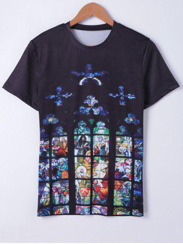 Fashion Fashionable Short Sleeves Round Neck Oil Painting Printing T-Shirt For Men BLACK L