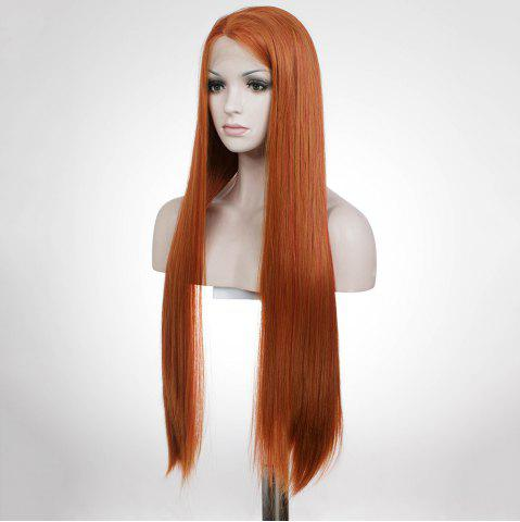 Chic Graceful Long Natural Straight Auburn Brown Lace Front Synthetic Wig For Women - AUBURN BROWN  Mobile
