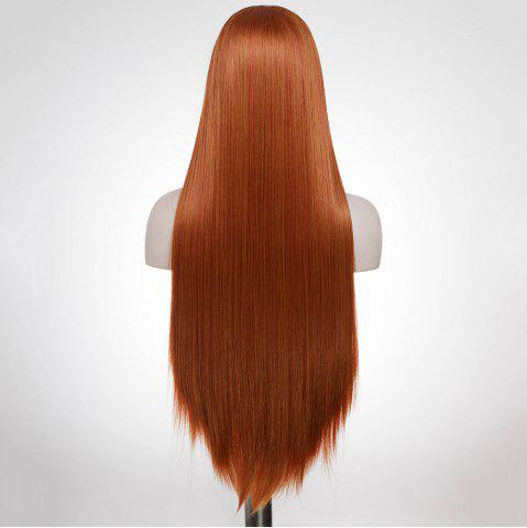 Outfits Graceful Long Natural Straight Auburn Brown Lace Front Synthetic Wig For Women - AUBURN BROWN  Mobile