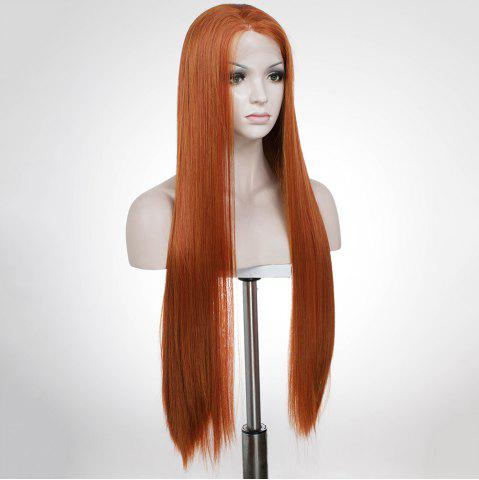 Latest Graceful Long Natural Straight Auburn Brown Lace Front Synthetic Wig For Women - AUBURN BROWN  Mobile
