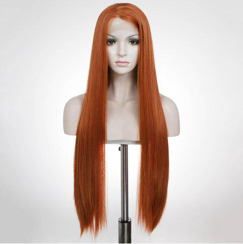 Unique Graceful Long Natural Straight Auburn Brown Lace Front Synthetic Wig For Women - AUBURN BROWN  Mobile