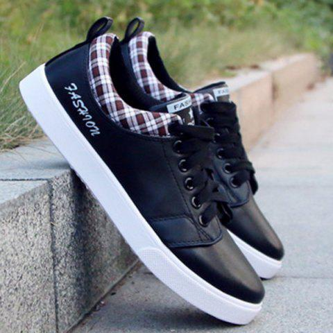 New Fashion Letter and Lace-Up Design Athletic Shoes For Men - 44 BLACK Mobile