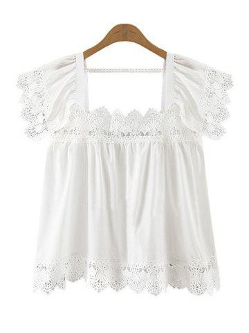 Best Trendy Women's Square Neck Lace Splicing Top WHITE 5XL
