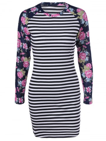 Affordable Long Sleeves Striped Printed Bodycon Dress WHITE/BLACK XL