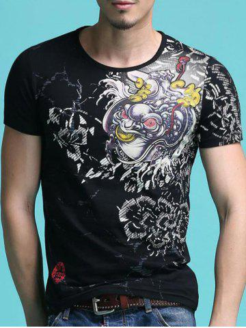 Affordable Trendy Round Neck Abstract Printing Slimming Short Sleeves T-Shirt For Men