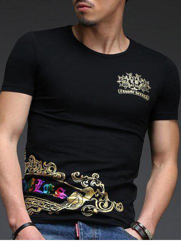 Discount Abstract Golden Printing Slimming Round Neck Short Sleeves T-Shirt For Men