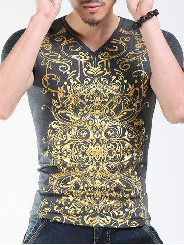 Shop Trendy V-Neck Golden Printing Slimming Short Sleeves T-Shirt For Men