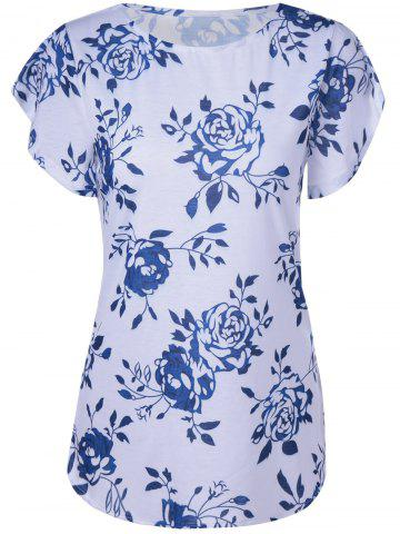 Chic Fashionable Short Sleeves Round Collar Printing T-Shirt For Women