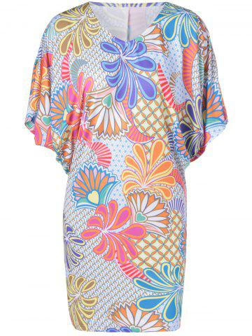Best Casual V-Neck Batwing Dress With Floral Print For Women COLORMIX XL