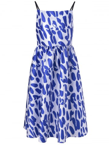 Trendy Fashionable Spaghetti Strap Loose-Fitting Dress With Printing For Women BLUE AND WHITE XL