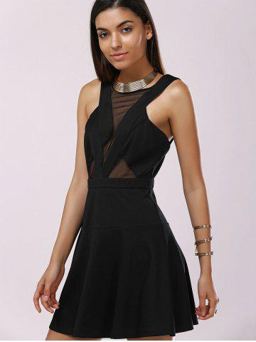 Affordable Fashionable Gauze Splice Cut-Out Drees For Woman - XL BLACK Mobile