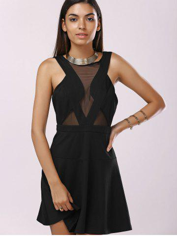 Discount Fashionable Gauze Splice Cut-Out Drees For Woman - L BLACK Mobile