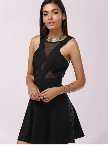 Affordable Fashionable Gauze Splice Cut-Out Drees For Woman - L BLACK Mobile
