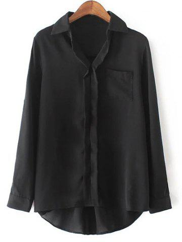 Store Casual Long Sleeve Pocket Design Black Blouse