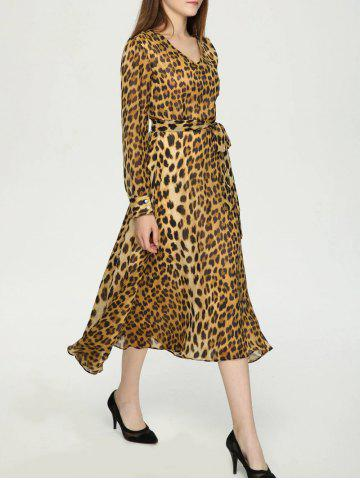 Shops Stylish V-Neck Long Sleeve Belt-Tie Leopard Print Dress