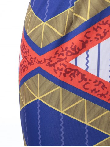 Trendy Ethnic Style Fitted V-Neck Geometric Print Dress For Women - L EARTHY Mobile