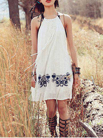 Best Trendy Embroidered Macrame Front Women's Halter Dress