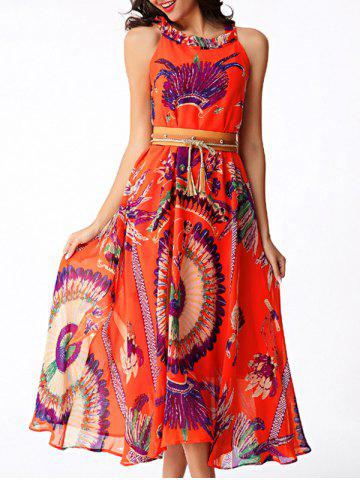Discount Flowing Printed Chiffon African Maxi Dress ORANGE RED XL