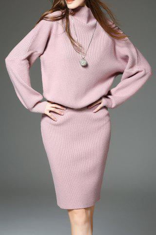 Store Drop Shoulder Sweater with Knit Skirt - ONE SIZE(FIT SIZE XS TO M) PINK Mobile